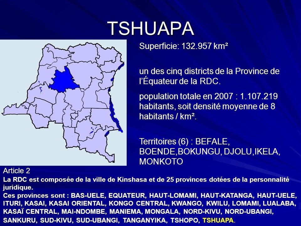 TSHUAPA Superficie: 132.957 km²