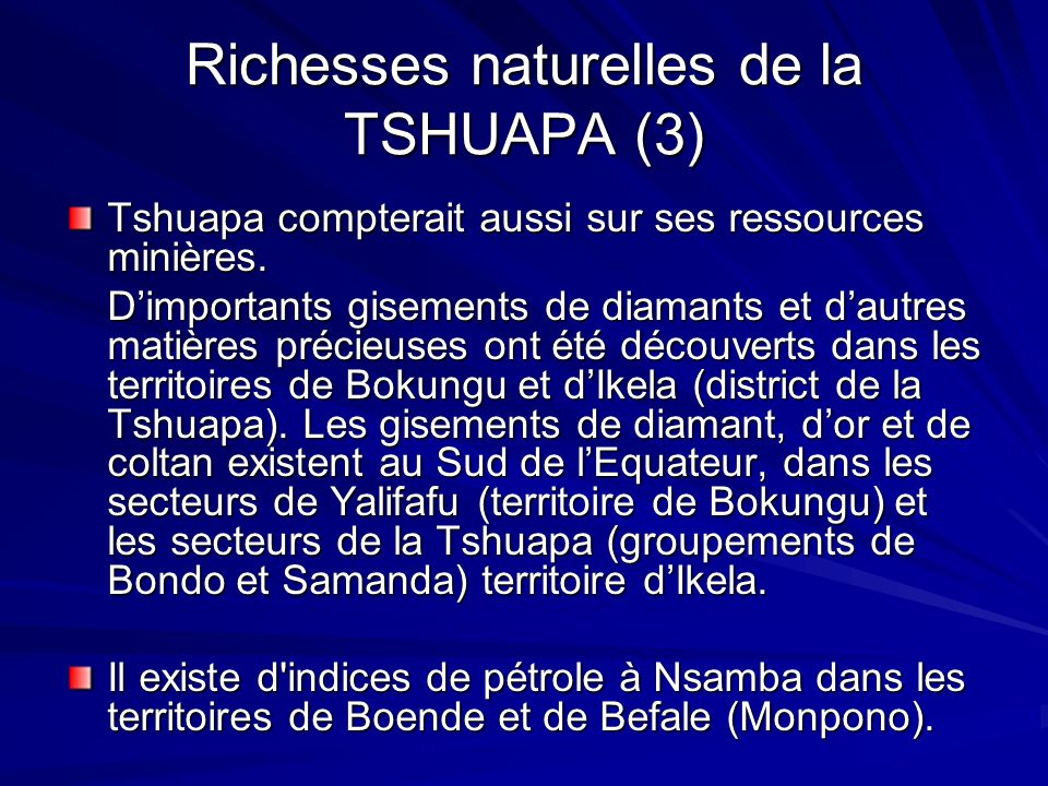 Richesses naturelles de la TSHUAPA (3)