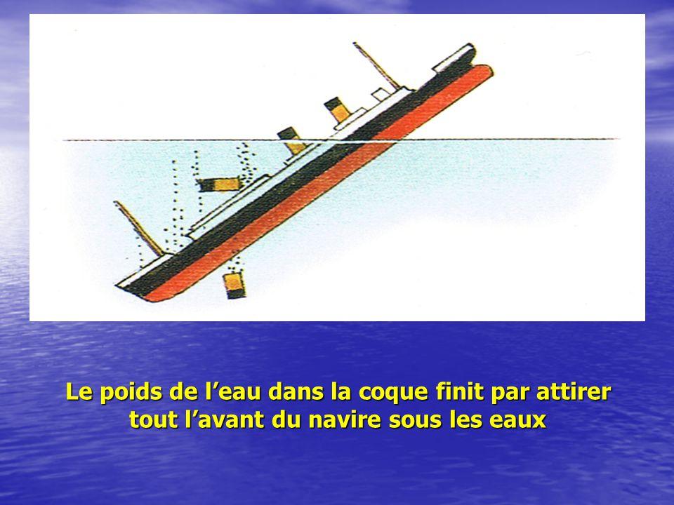 Le poids de l'eau dans la coque finit par attirer tout l'avant du navire sous les eaux