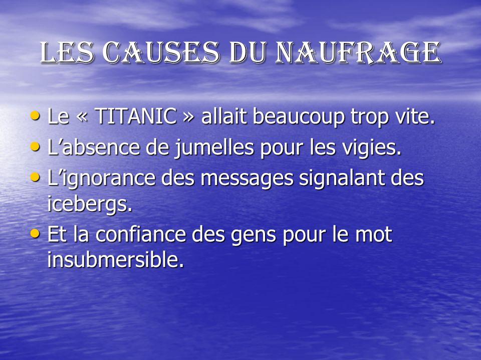 Les causes du naufrage Le « TITANIC » allait beaucoup trop vite.