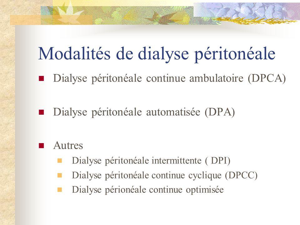 Modalités de dialyse péritonéale