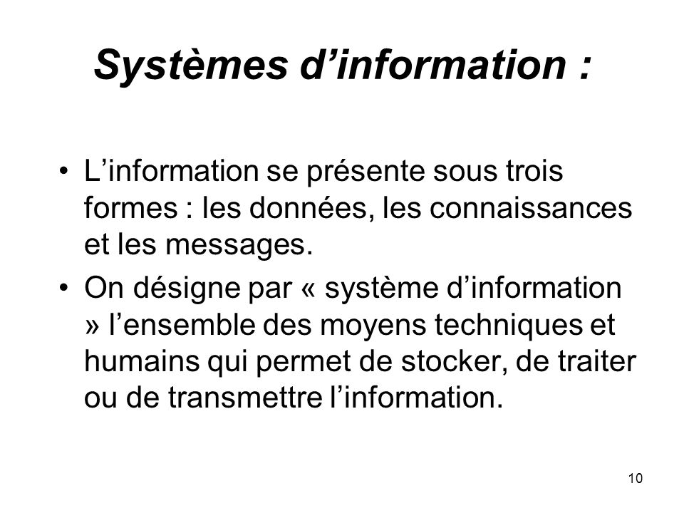 Systèmes d'information :