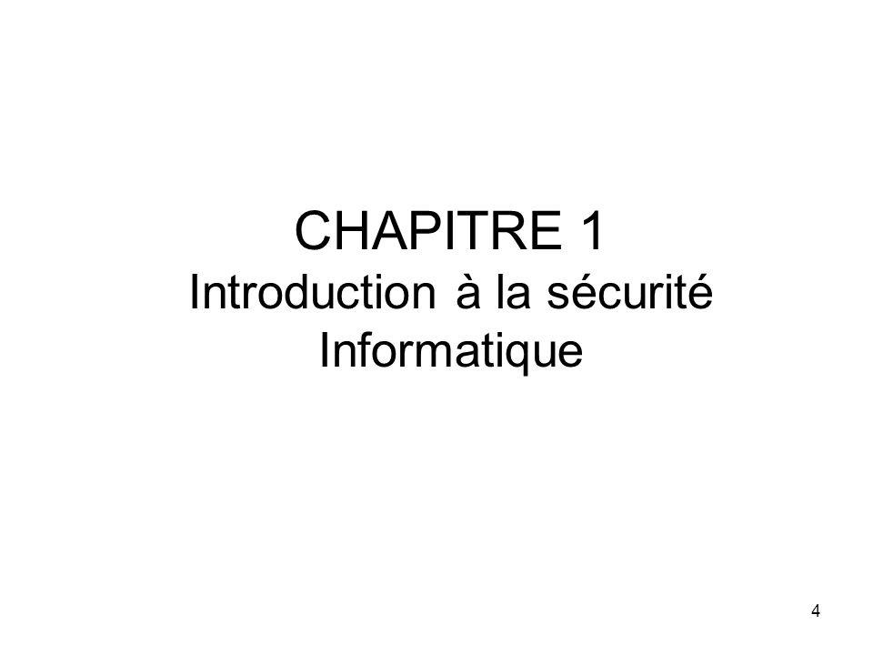 CHAPITRE 1 Introduction à la sécurité Informatique