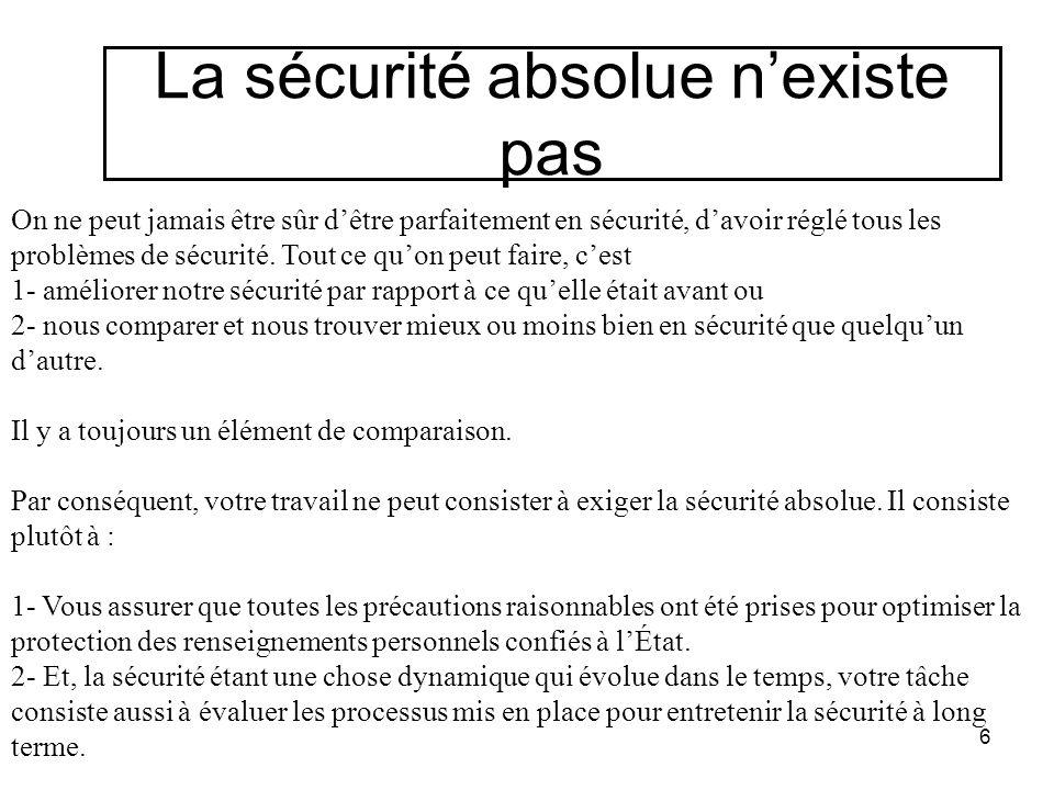 La sécurité absolue n'existe pas