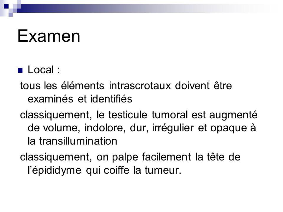 Examen Local : tous les éléments intrascrotaux doivent être examinés et identifiés.