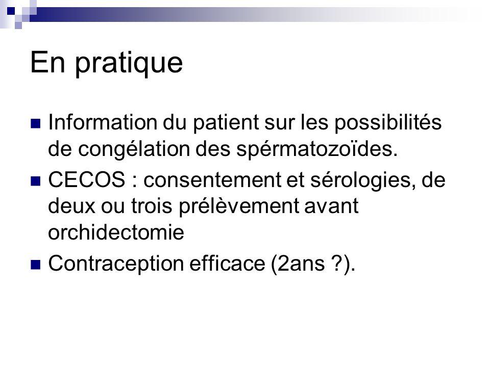 En pratique Information du patient sur les possibilités de congélation des spérmatozoïdes.
