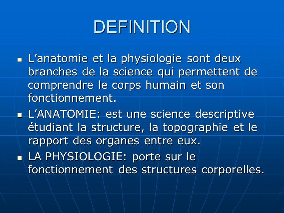 DEFINITION L'anatomie et la physiologie sont deux branches de la science qui permettent de comprendre le corps humain et son fonctionnement.