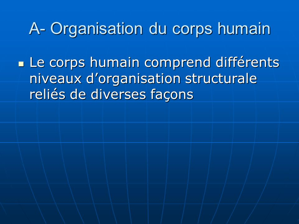 A- Organisation du corps humain