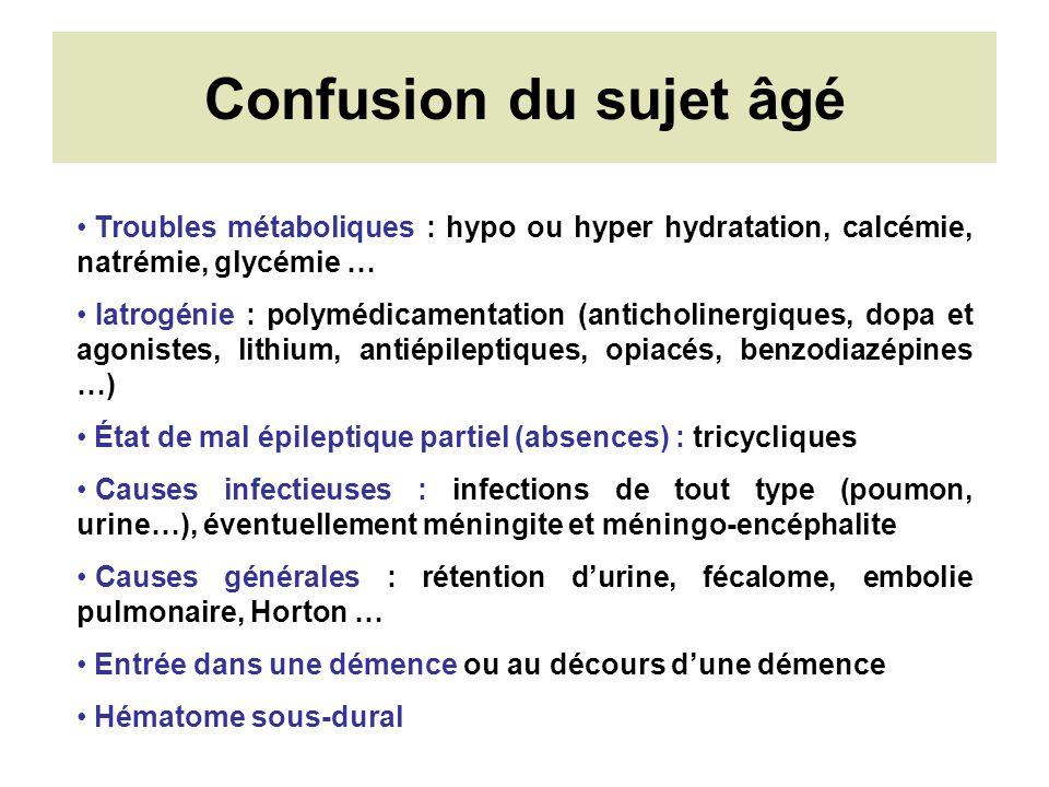 Confusion du sujet âgé Troubles métaboliques : hypo ou hyper hydratation, calcémie, natrémie, glycémie …