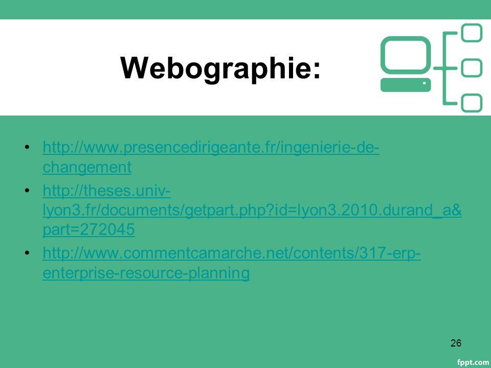 Webographie: http://www.presencedirigeante.fr/ingenierie-de-changement