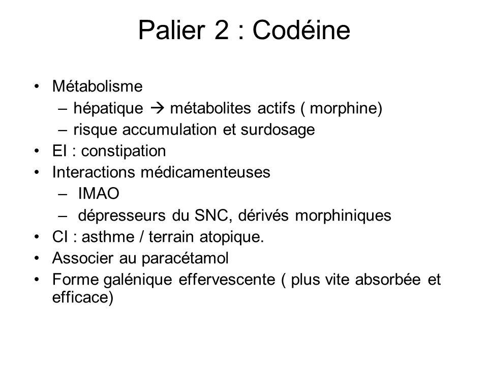Palier 2 : Codéine Métabolisme