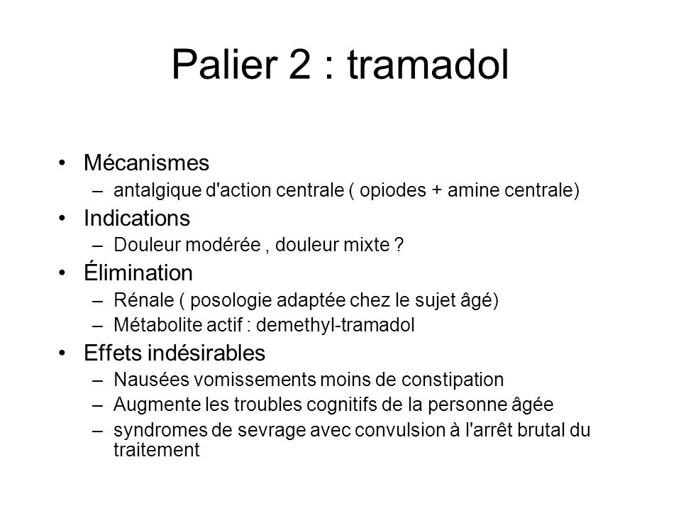 Palier 2 : tramadol Mécanismes Indications Élimination
