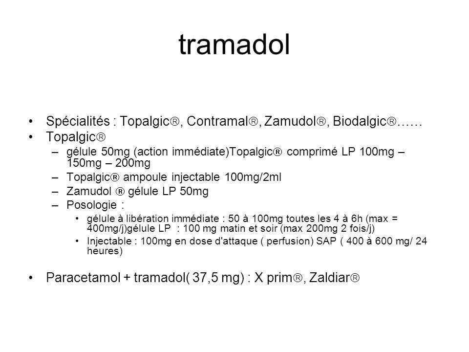 tramadol Spécialités : Topalgic, Contramal, Zamudol, Biodalgic……