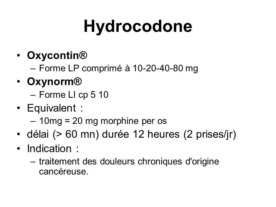 Hydrocodone Oxycontin® Oxynorm® Equivalent :