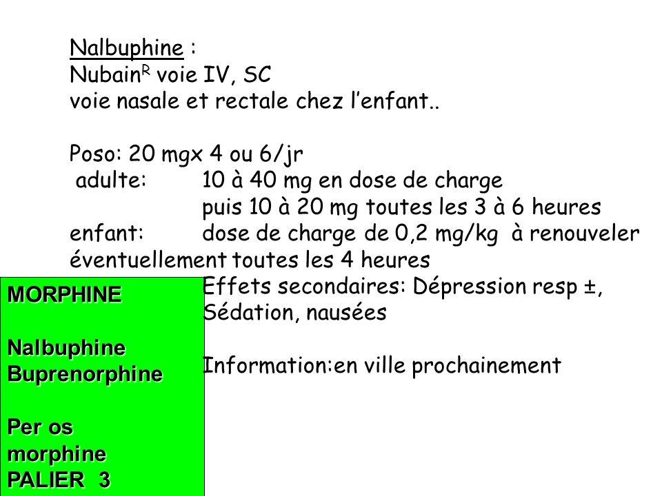 Nalbuphine : NubainR voie IV, SC. voie nasale et rectale chez l'enfant.. Poso: 20 mgx 4 ou 6/jr.