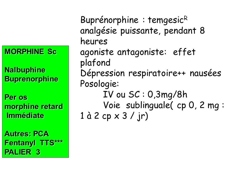 Buprénorphine : temgesicR analgésie puissante, pendant 8 heures