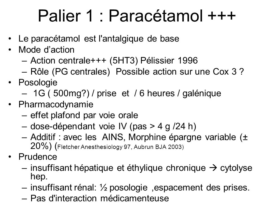 Palier 1 : Paracétamol +++