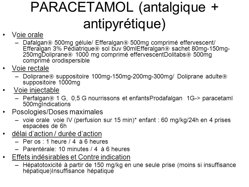PARACETAMOL (antalgique + antipyrétique)