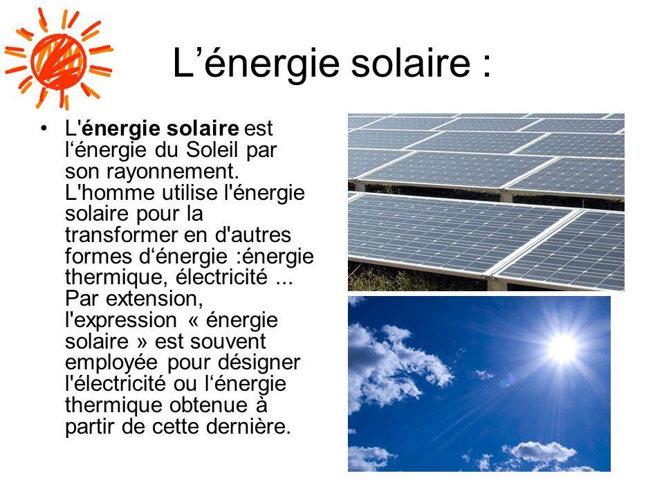 L'énergie solaire :