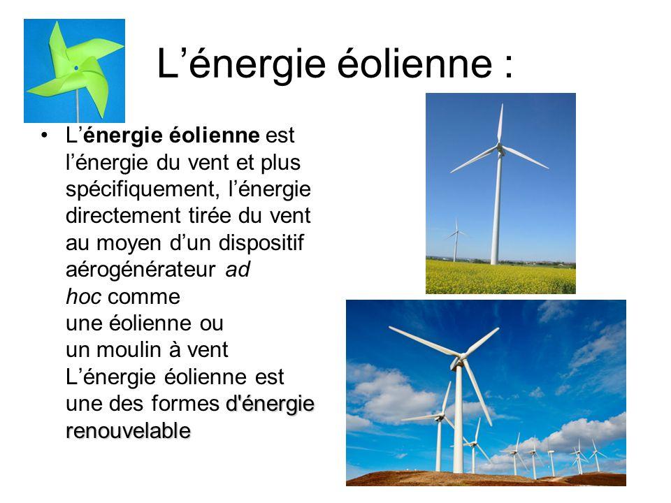 L'énergie éolienne :