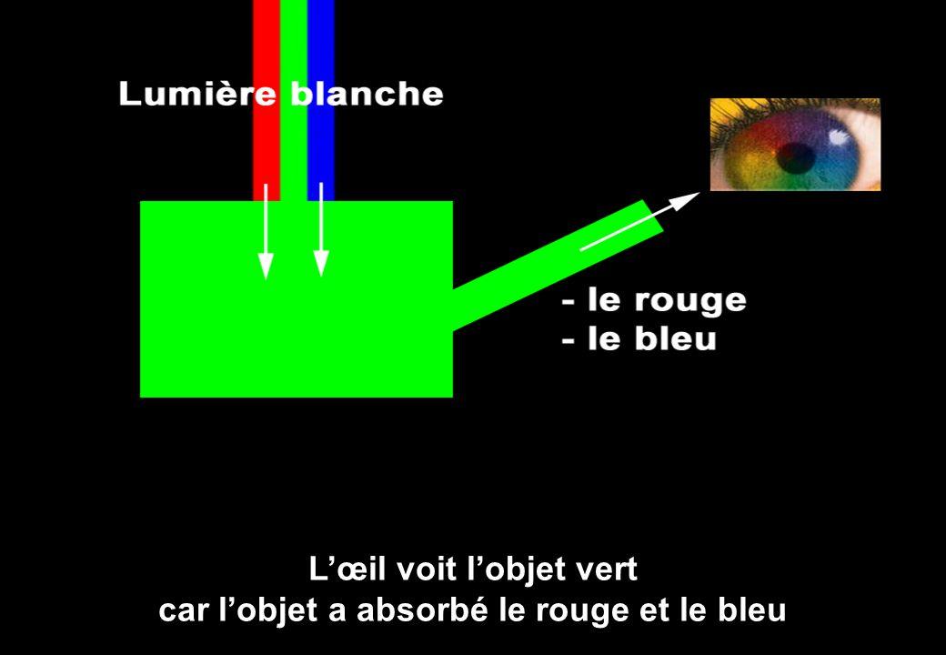 L'œil voit l'objet vert car l'objet a absorbé le rouge et le bleu