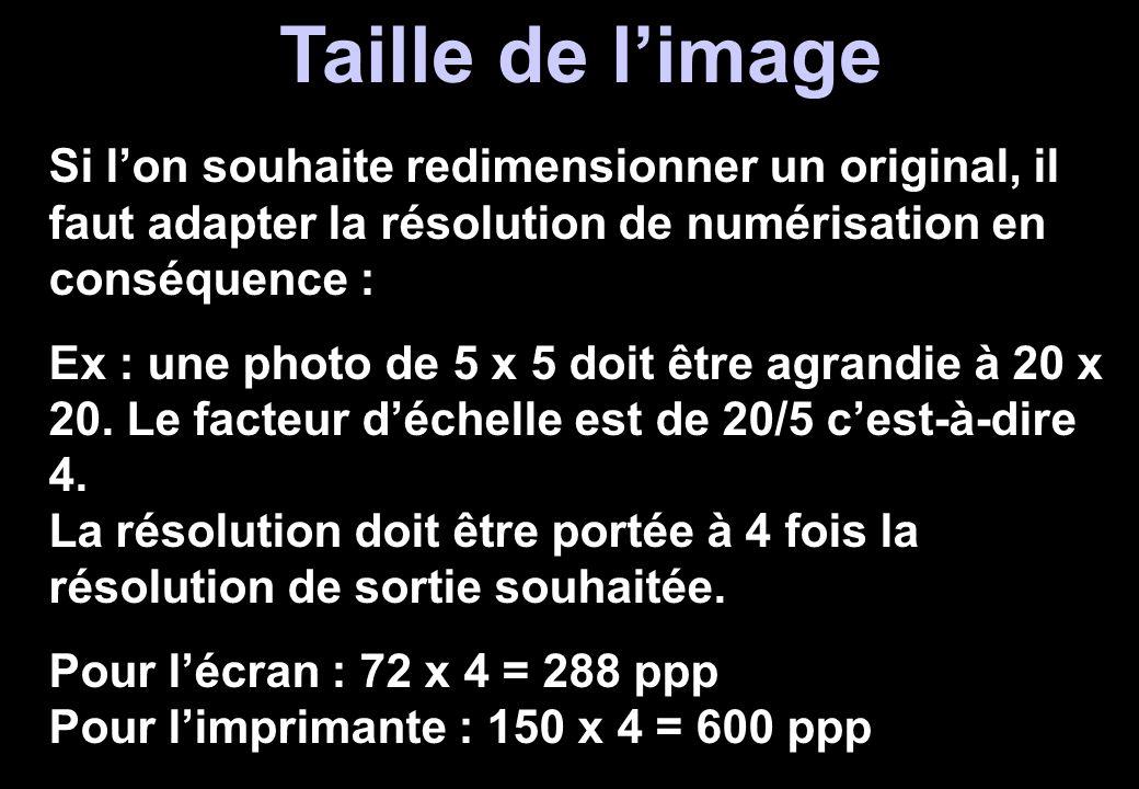 Taille de l'image Si l'on souhaite redimensionner un original, il faut adapter la résolution de numérisation en conséquence :