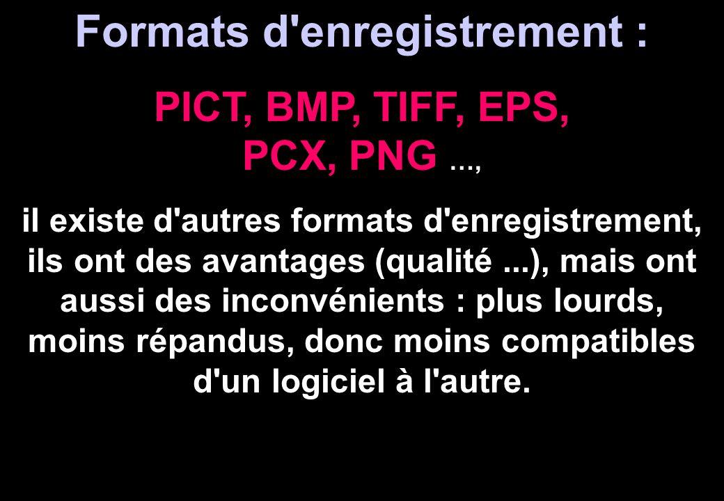 Formats d enregistrement : PICT, BMP, TIFF, EPS, PCX, PNG …,