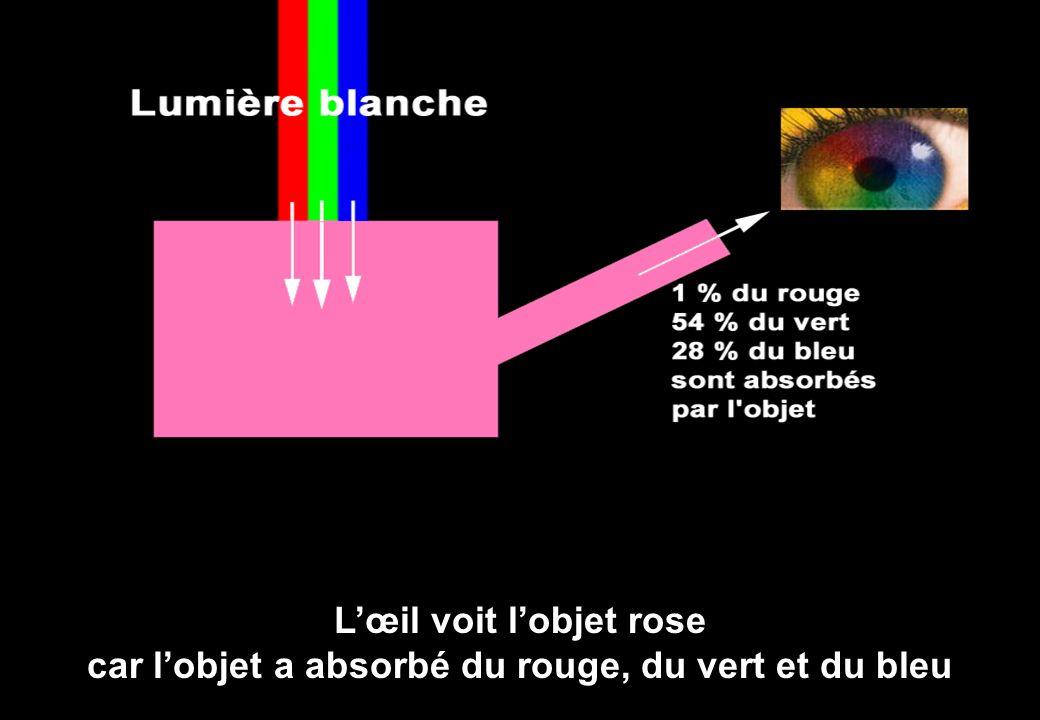 L'œil voit l'objet rose car l'objet a absorbé du rouge, du vert et du bleu