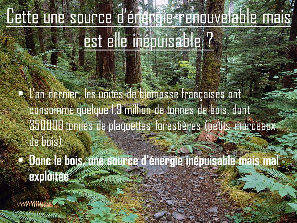 Cette une source d'énergie renouvelable mais est elle inépuisable