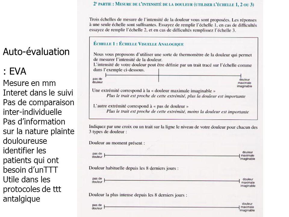 Auto-évaluation : EVA Mesure en mm Interet dans le suivi Pas de comparaison inter-individuelle Pas d'information sur la nature plainte douloureuse identifier les patients qui ont besoin d'unTTT Utile dans les protocoles de ttt antalgique
