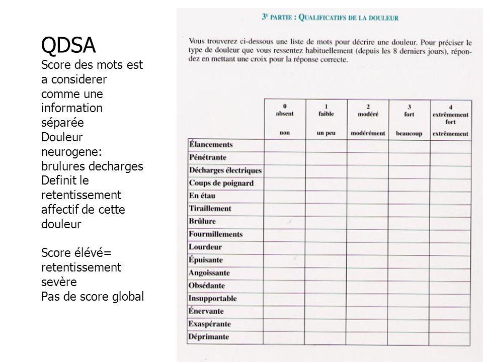 QDSA Score des mots est a considerer comme une information séparée Douleur neurogene: brulures decharges Definit le retentissement affectif de cette douleur Score élévé= retentissement sevère Pas de score global