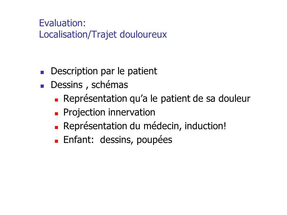 Evaluation: Localisation/Trajet douloureux