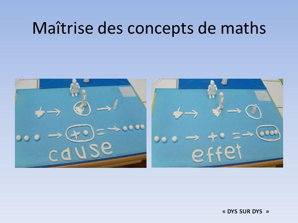 Maîtrise des concepts de maths