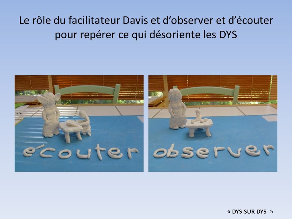 Le rôle du facilitateur Davis et d'observer et d'écouter pour repérer ce qui désoriente les DYS