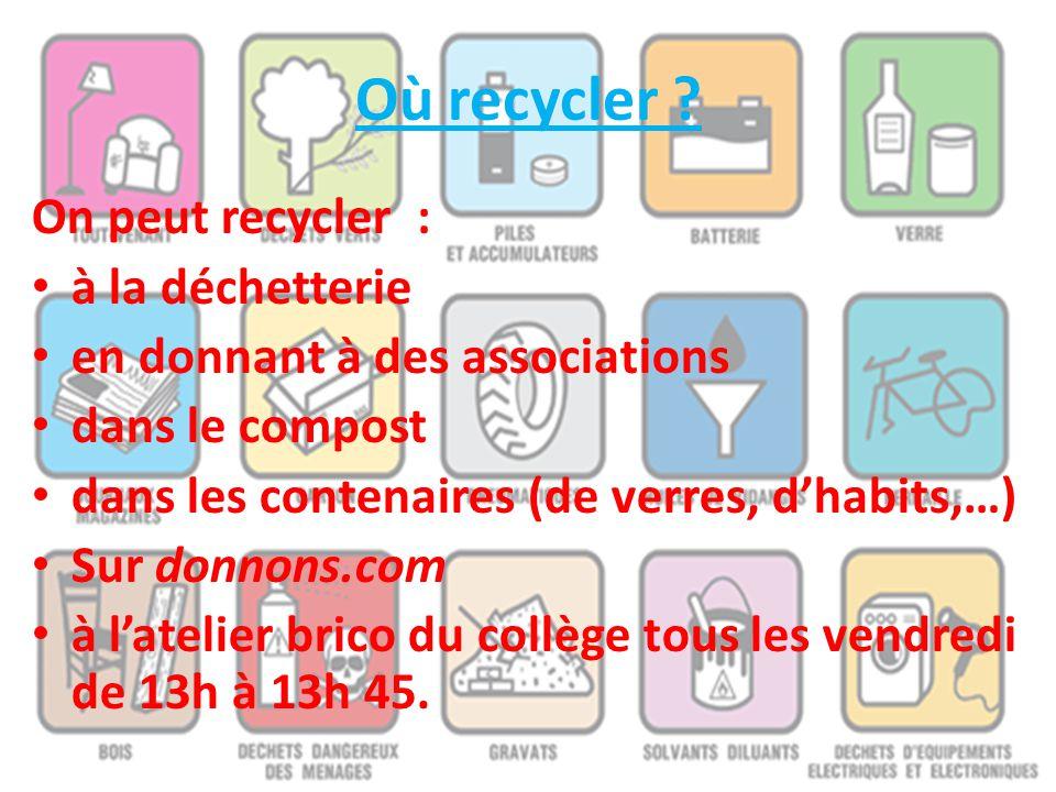 Où recycler On peut recycler : à la déchetterie