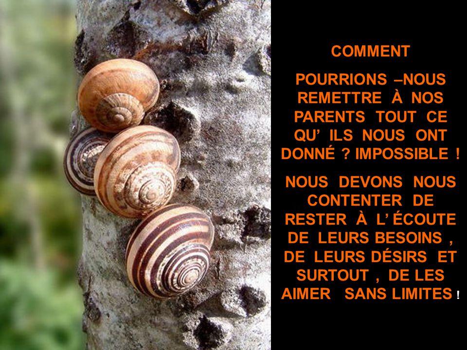 COMMENT POURRIONS –NOUS REMETTRE À NOS PARENTS TOUT CE QU' ILS NOUS ONT DONNÉ IMPOSSIBLE !