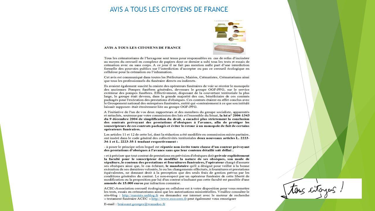 AVIS A TOUS LES CITOYENS DE FRANCE
