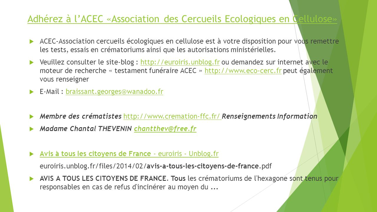 Adhérez à l'ACEC «Association des Cercueils Ecologiques en Cellulose»