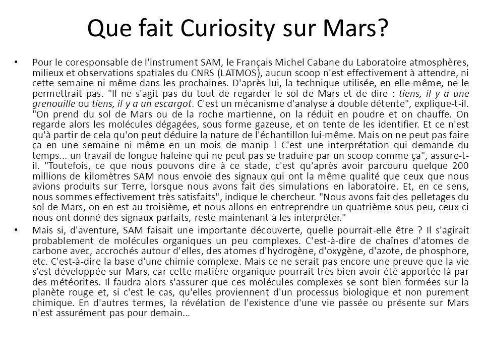 Que fait Curiosity sur Mars