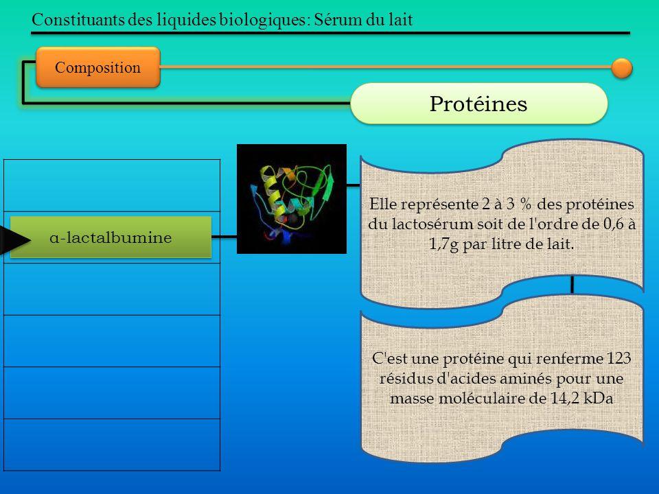 Protéines Constituants des liquides biologiques: Sérum du lait