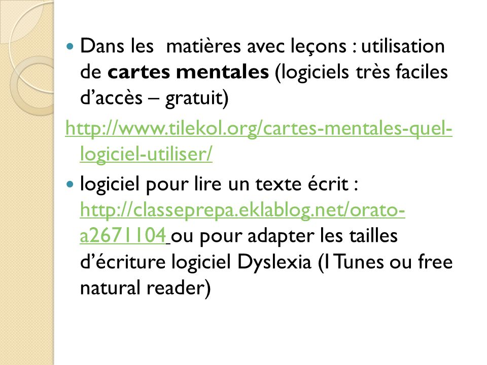 Dans les matières avec leçons : utilisation de cartes mentales (logiciels très faciles d'accès – gratuit)