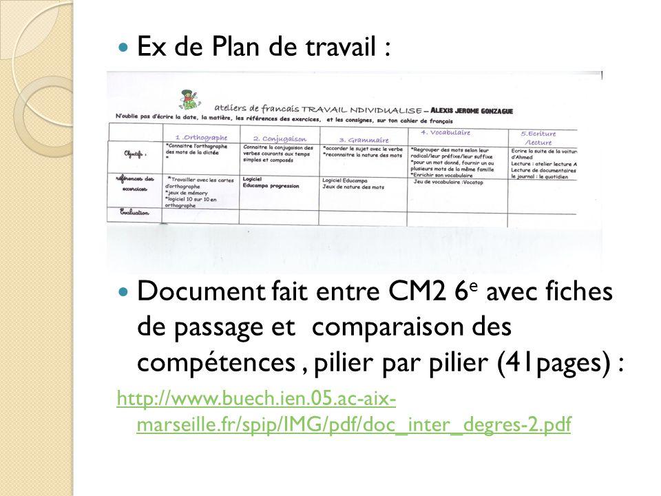 Ex de Plan de travail : Document fait entre CM2 6e avec fiches de passage et comparaison des compétences , pilier par pilier (41pages) :