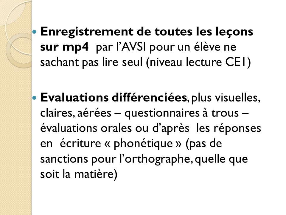 Enregistrement de toutes les leçons sur mp4 par l'AVSI pour un élève ne sachant pas lire seul (niveau lecture CE1)