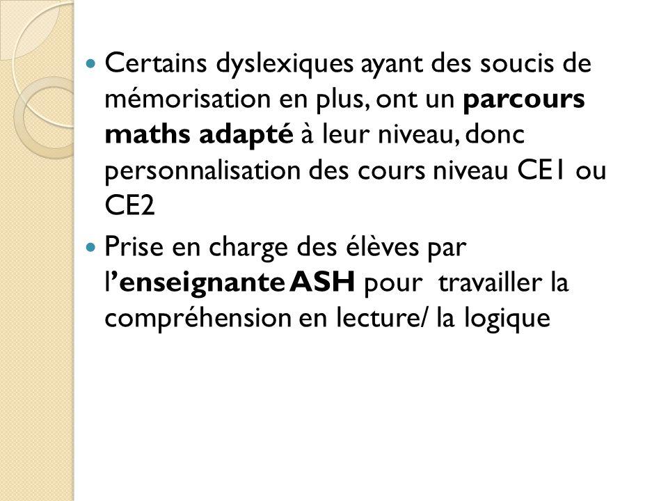 Certains dyslexiques ayant des soucis de mémorisation en plus, ont un parcours maths adapté à leur niveau, donc personnalisation des cours niveau CE1 ou CE2