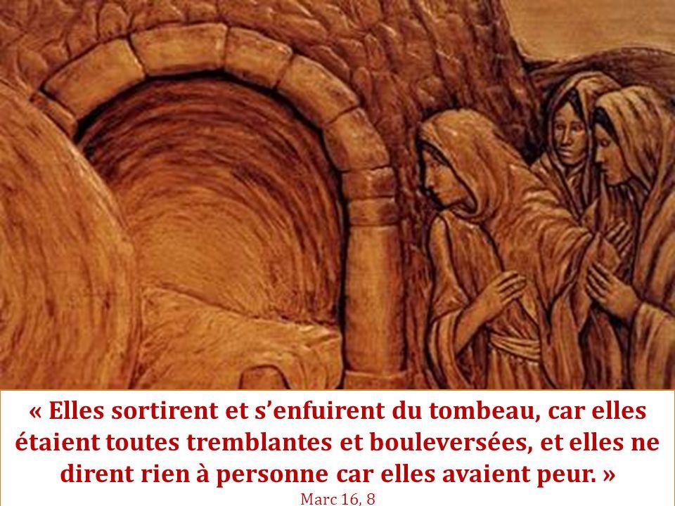 « Elles sortirent et s'enfuirent du tombeau, car elles étaient toutes tremblantes et bouleversées, et elles ne dirent rien à personne car elles avaient peur. » Marc 16, 8
