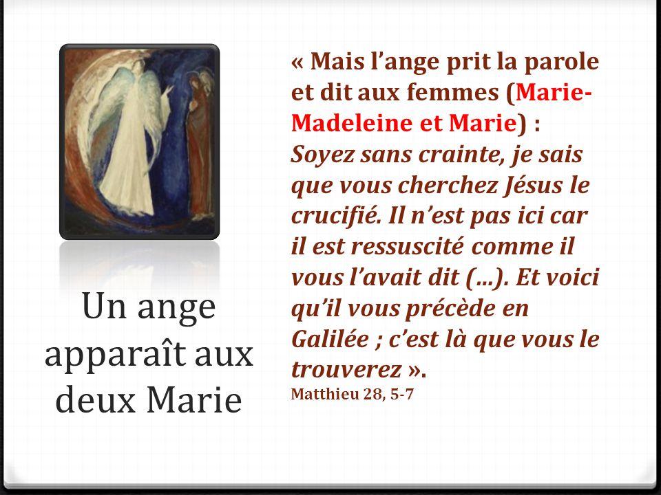 Un ange apparaît aux deux Marie