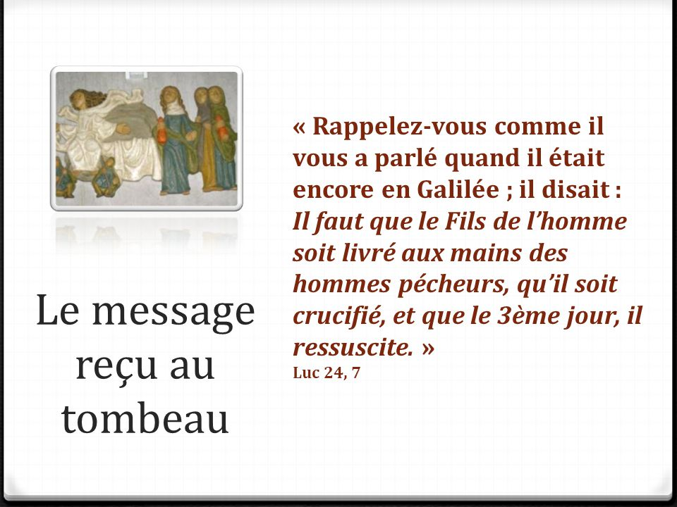 Le message reçu au tombeau
