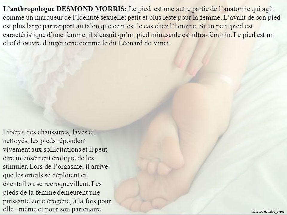 L'anthropologue DESMOND MORRIS: Le pied est une autre partie de l'anatomie qui agît comme un marqueur de l'identité sexuelle: petit et plus leste pour la femme. L'avant de son pied est plus large par rapport au talon que ce n'est le cas chez l'homme. Si un petit pied est caractéristique d'une femme, il s'ensuit qu'un pied minuscule est ultra-féminin. Le pied est un chef d'œuvre d'ingénierie comme le dit Léonard de Vinci.