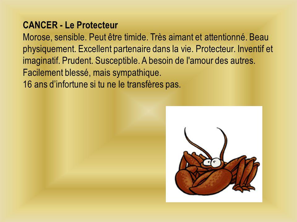 CANCER - Le Protecteur Morose, sensible. Peut être timide