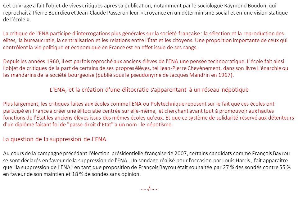 La question de la suppression de l ENA